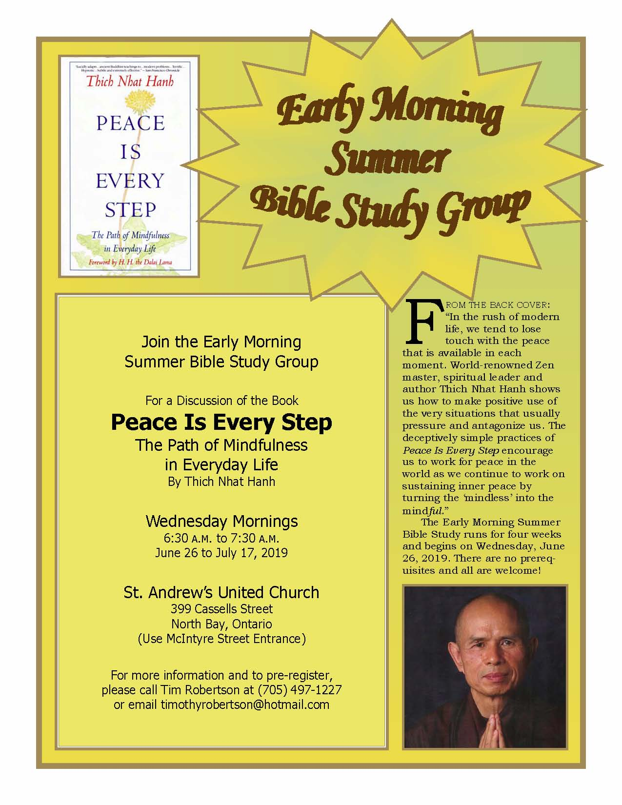Early Morning Summer Bible Study Group – St  Andrew's United Church